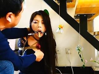 Asian Ring Gagged Tongue Clothespinned Drooling