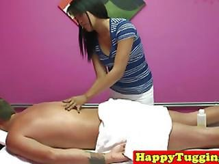 Angelina Chung Massages Clients Cock With Her Mouth