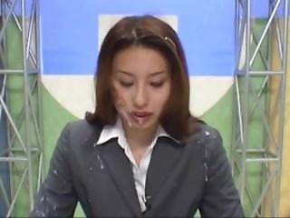 Cum Drenched Japanese Newsreader