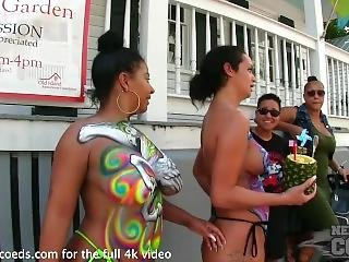 Nude Girls With Only Body Paint Out In Public On The Streets Of Fantasyfest
