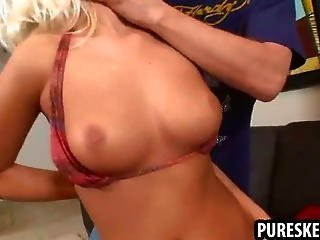 Hot Sexy Blonde Rubbing Her Tight Pussy For The Camera