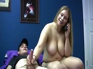 Big Tit Sister Gives Handjob