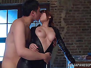 Carnal Oriental Cowgirl With Large Natural Love Bubbles Clad In Leather Getting Her Vagina Smacked Hardcore Doggy Style