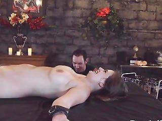 Tied Pornstar Hottie Toyed