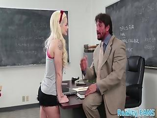 Tiny Schoolgirl Drilled By Teachers Big Dick