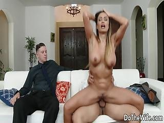 Stud Fucks Housewife Claudia Valentine While Her Lamer Husband Watches