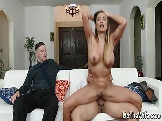 pipe, seins, brunette, nique, hardcore, maison, femme au foyer, milf, trio, femme
