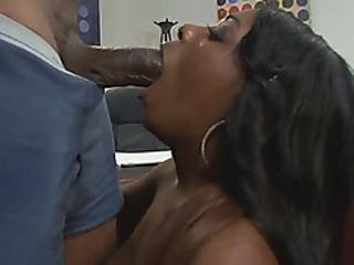 Busty Black Babe Banged On Table