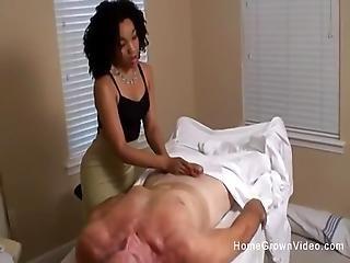 Older White Man Fucks Two Cute Ebony Teens After Massage