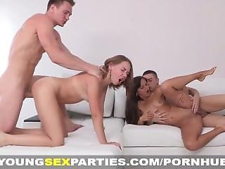 Big Tit, Blowjob, Double Fuck, Fucking, Sex, Small Tits, Teen, Young