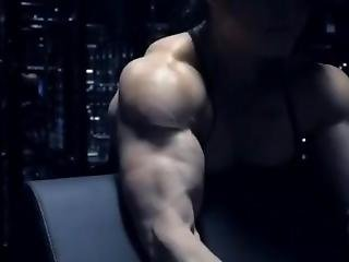 Asian Muscle Woman Pumping Up To The Max