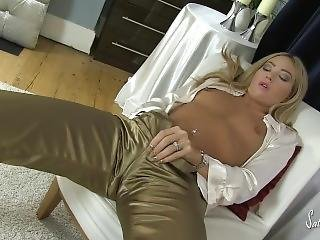 Natalia In Super Hot Pink Satin Panties And White Blouse