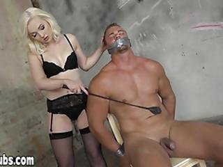 Petite Teen Mistress Gives Handjob To Her Tied Slave