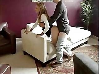 Smoking Teen Banged On A Couch