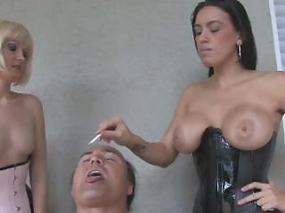 Mistress Megan And Haily - Smoking And Spiting Slave