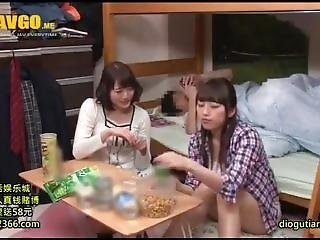 asiático, crema, creampie, japonese, hermana, threesome