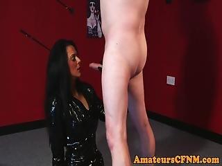 Latex Loving Cfnm Femdom Blowing Cock