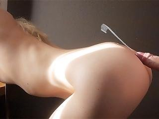 He Stretches My Pussy And Cums On My Ass. Real Amateur Couple