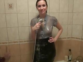 Black Skirt, Tights, Shirt