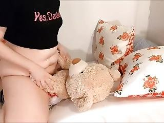 This Little Girl Misses Her Daddy, Fucks Her Teddy Bear Instead