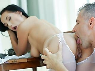 Dark Haired Big Tit Rimmed On The Terrace