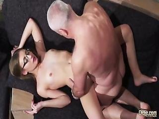 Grandpa Gets His Cock Sucked And Wet By Beautiful Little Girl With Glasses