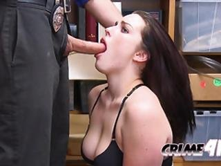 Raven Is Placed On Officers Desk To Take His Big Cock Deep And Hard