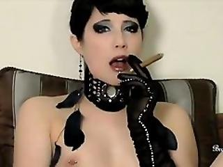 Boob, Cigarette, Dildo, Fetish, Goth, Heels, Kinky, Leather, Masturbation, Petite, Pussy, Smoking, Teasing, Teen