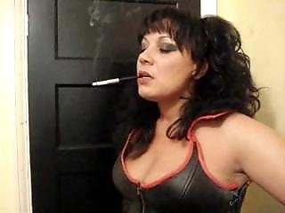 Leather in smoking mature sexy women