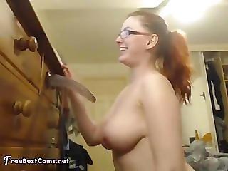 Nerdy Teen In Glasses Sloppy Throatfuck On Webcam