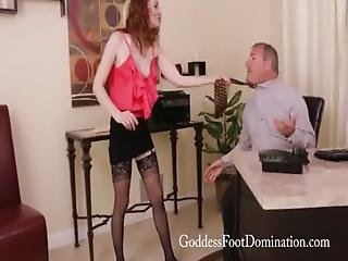 Dirty, Domination, Femdom, Fetish, Foot, Footjob, Office, Stocking, Trailer, Worship