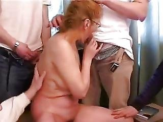 Russian Mature And Five Boys 2