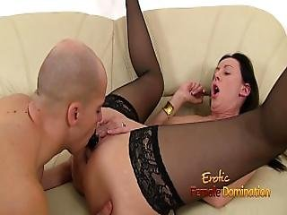 Lara Is Pleased With A Mouth Mount Dildo