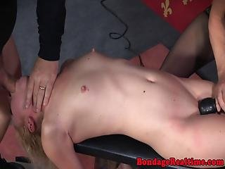 Teen Sub Throated While Strapon Fucking