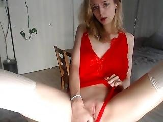 I Strip Tease Before Cumming Hard! Glass Toy Barely Fits In My Tiny Pussy!