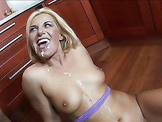 Blonde Bombshell Gets Banged By A Hunk On The Kitchen Counter