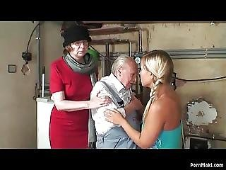 Granny Masturbates While Grandpa Fucks A Blonde Teen