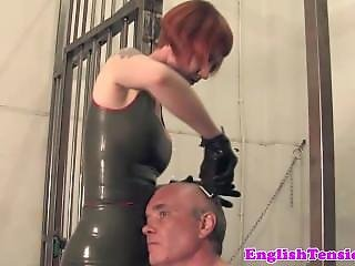 Ginger Femdom Interrogates Useless Submissive