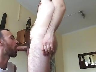 Hairy White Guy Getting Cock Worshiped
