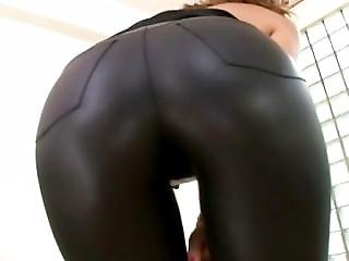 Lovely Asian In Tight Leather Pants