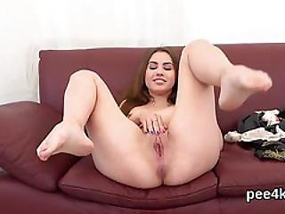 Perfect Girl Is Pissing And Pleasing Hairless Twat