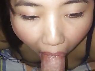 Cute Asian Bitch Sucks Dick Cum Swallows