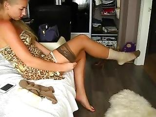 Dancer Girl Puts On Tan Pantyhose Over Her Bandaged Ankle