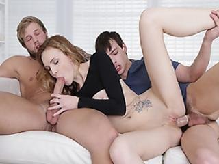 Curious Teens Having A Wild Threesome With Belle And Stepdad