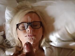 Amateur Girl With Glasses Recieves Facial