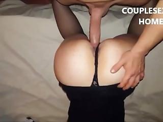 Big Cock Boyfriend Open Her Pussy In Hot Footsie Position