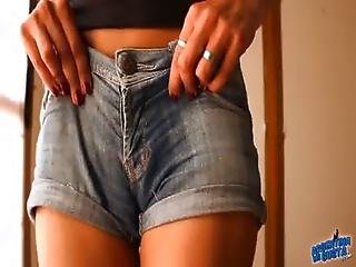 Most Round Ass Teen Wearing Tight Denim Shorts Cameltoe