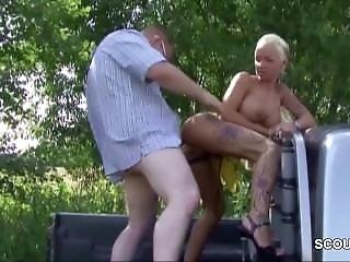 German Street Hooker Teen Fuck Outdoor For Money By Stranger