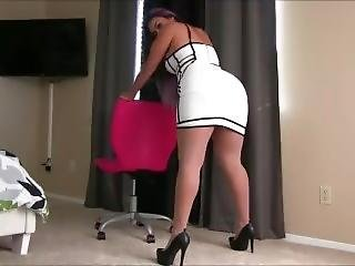 Latina In Tight White Dress And Nude Pantyhose