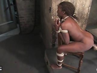 Ebony Slut Monique Shove Huge Dildo In Her Ass N Fucked